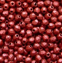 2.5mm Fire Polished, Chalk Lave Red - 100